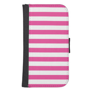 Pink Horizontal Stripes Samsung S4 Wallet Case