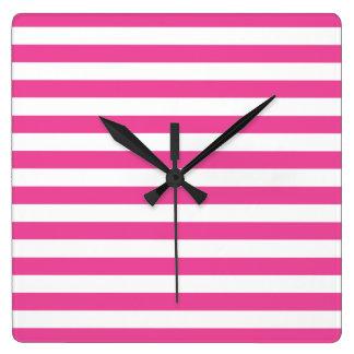 Pink Horizontal Stripes Square Wall Clock