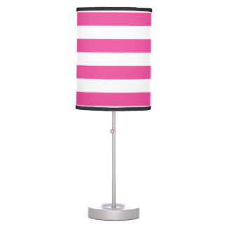 Pink Horizontal Stripes Table Lamp