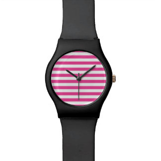 Pink Horizontal Stripes Wrist Watch