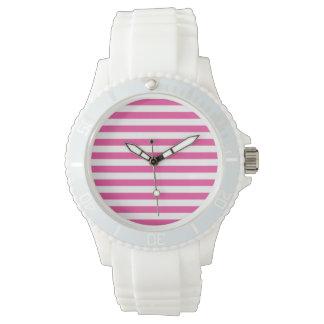 Pink Horizontal Stripes Wristwatch
