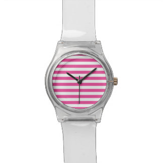 Pink Horizontal Stripes Wristwatch