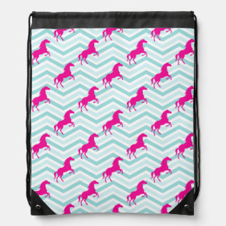 Pink Horse, Equestrian, Teal Green Blue Drawstring Bag