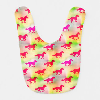 Pink Horse Lover Running Pony Equestrian Foal Bib