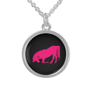 Pink Horse On Black Silhouette  Necklace