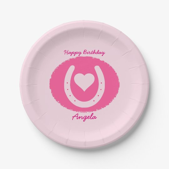 Pink Horse Shoe Personlaized 7 Inch Paper Plate