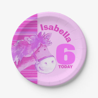 Pink horse watercolor birthday party custom plate