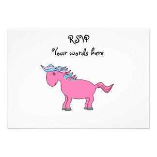 Pink horse with blue pink mane announcement