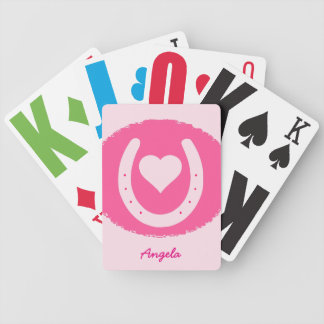 pink Horseshoe and Heart Bicycle Playing Cards