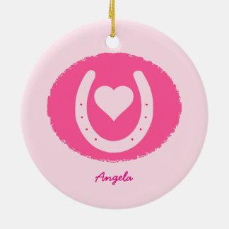 pink Horseshoe and Heart Ceramic Ornament