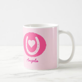 pink Horseshoe and Heart Coffee Mug