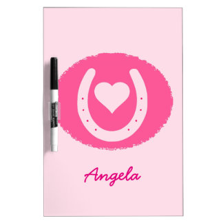 pink Horseshoe and Heart Dry Erase Board