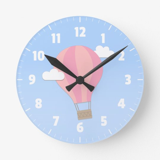 Pink Hot Air Balloon, Adventure Among the Clouds Clock