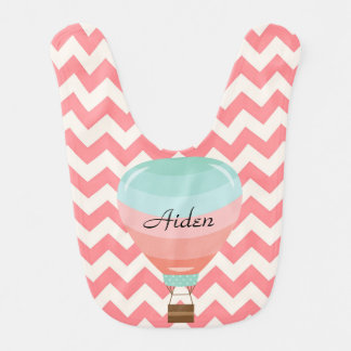 Pink Hot Air Balloon, For Baby Girl Bib