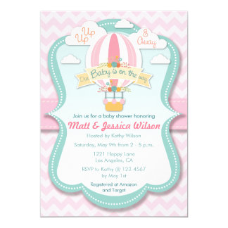 Pink Hot Air Balloon Girls Baby Shower Invitation