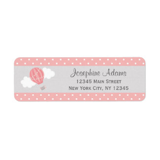 Pink Hot Air Balloon Return Address Labels
