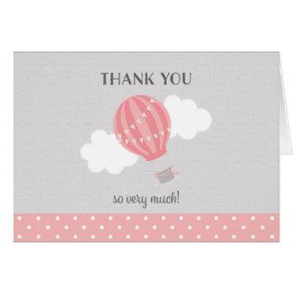 Pink Hot Air Balloon Thank You Card