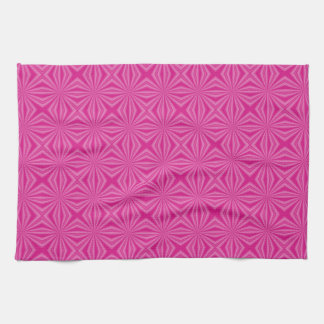 Pink Hot Squiggly Squares Kitchen Towels