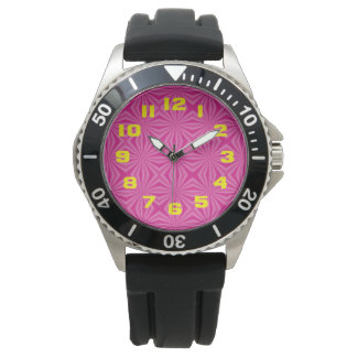 Pink Hot Squiggly Squares Watch