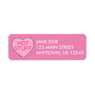 Pink HOT STUFF Candy Heart Valentine's Day Labels