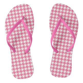 Pink Houndstooth Flip Flops
