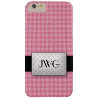 Pink Houndstooth Monogram Barely There iPhone 6 Plus Case