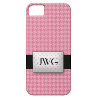 Pink Houndstooth Monogram iPhone 5 Case