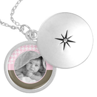 Pink Houndstooth Photo Frame Custom Necklace