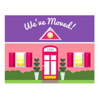 Pink House Dream Home New Address Postcard