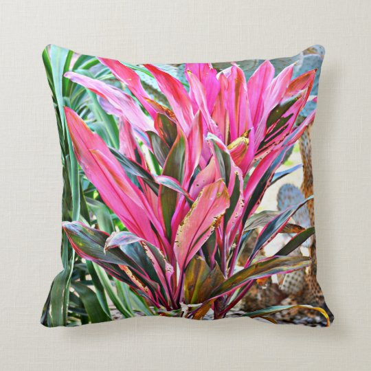 Pink House Plant Throw Pillow