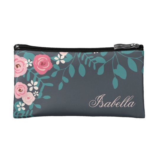 Pink Hues Floral Foliage Cosmetic Bag