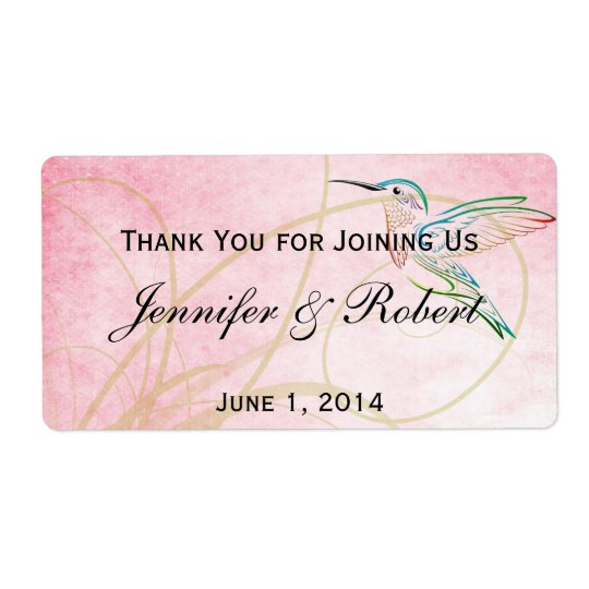 Pink Hummingbird Watercolor Water Bottle Label Shipping Label