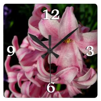 Pink Hyacinth Beautiful Spring Flower Clock