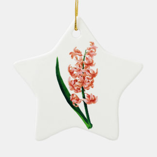 Pink Hyacinth by Pierre Joseph Redoute Ceramic Star Ornament