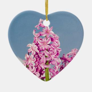 Pink Hyacinth Ceramic Heart Ornament