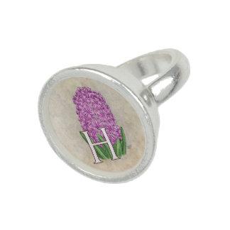 Pink Hyacinth Flora Monogram Rings