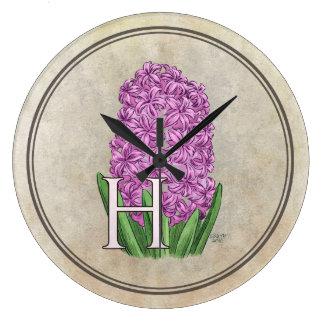 Pink Hyacinth Flora Monogram Wall Clock