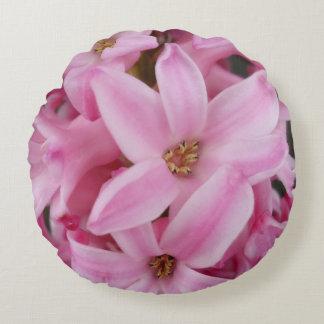 pink hyacinth flower round pillow