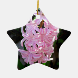 Pink Hyacinth Flowers Ceramic Star Ornament