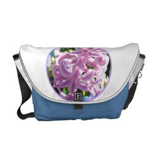 Pink hyacinth med. messenger bag w/blue