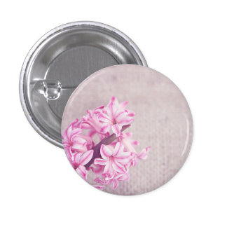 Pink Hyacinth on White Knit 1 Inch Round Button