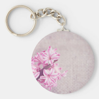 Pink Hyacinth on White Knit Basic Round Button Keychain