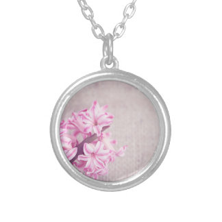 Pink Hyacinth on White Knit Silver Plated Necklace