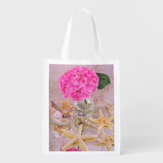 Pink Hydrangea And Sea Shells Reusable Grocery Bag