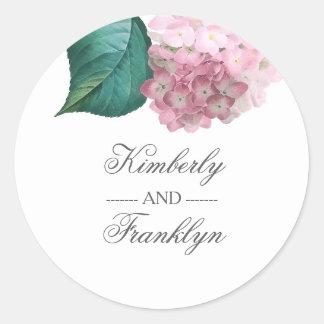Pink Hydrangea Botanical Vintage Floral Wedding Round Sticker