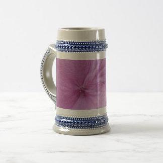 Pink Hydrangea Flower Gray /Blue 22 oz Stein
