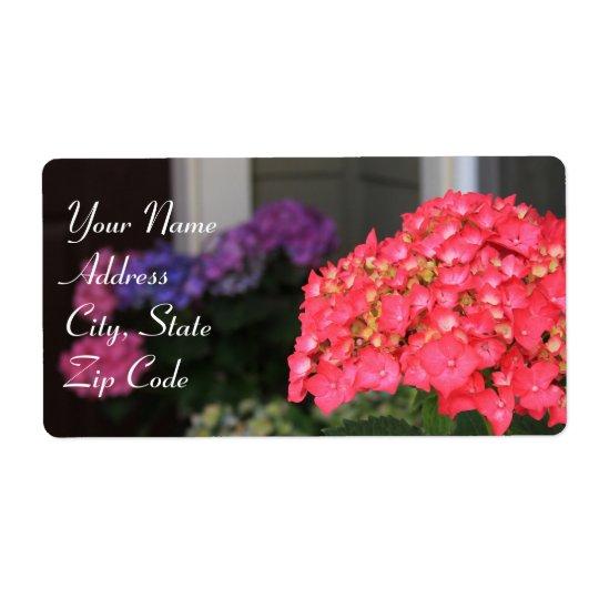 Pink Hydrangea flowers Address labels