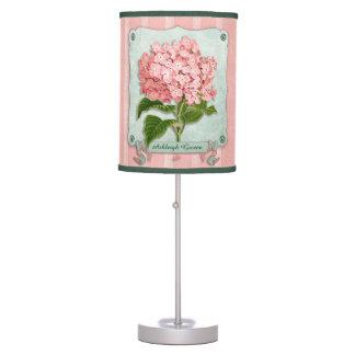 Pink Hydrangea Green Ribbon Striped Paper Cutouts Desk Lamps