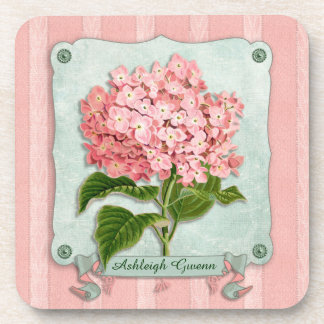 Pink Hydrangea Green Ribbon Striped Paper Cutouts Drink Coaster