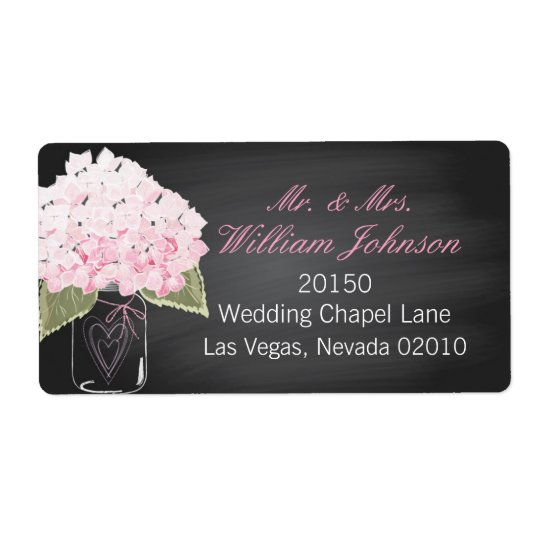 Pink Hydrangea Jar Chalkboard Wedding Label Shipping Label